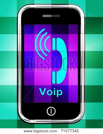 Voip On Phone Displays Voice Over Internet Protocol Or Ip Telephony