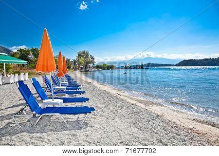 Beautiful Nydri beach, Lefkada island, Greece.