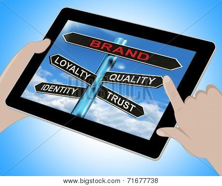 Brand Tablet Shows Loyalty Identity Quality And Trust
