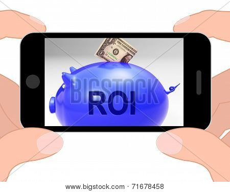Roi Piggy Bank Displays Investors Return And Income