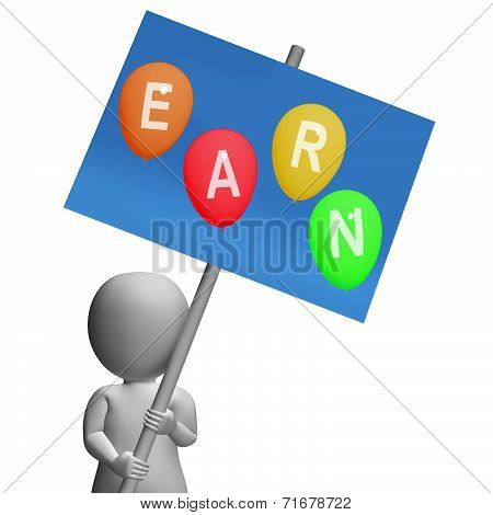 Sign Earn Balloons Show Online Earnings Promotions Opportunities And Sales