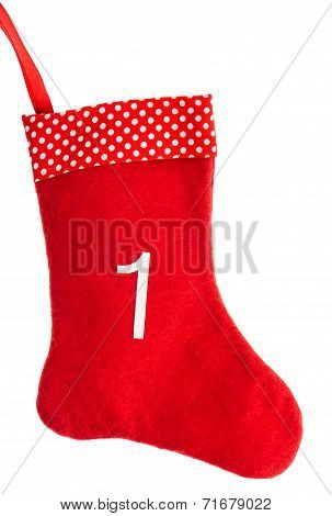 Red Christmas Sock For Gifts. Advent Symbol