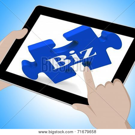 Biz Tablet Shows Internet Business Or Shop