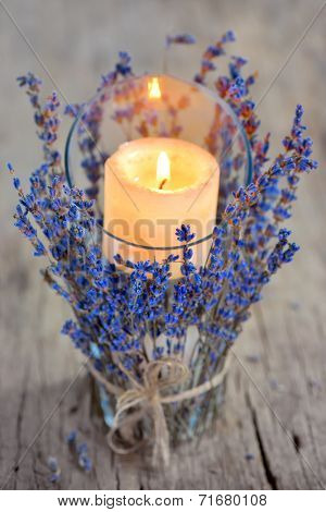Lavender Candle on old wood