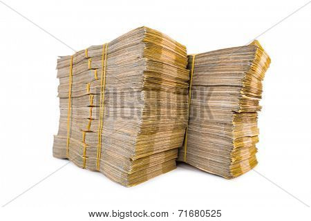 Stack of money isolated on the white