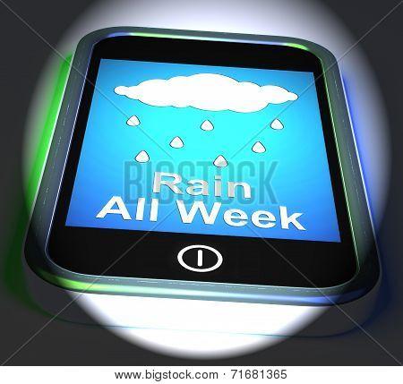 Rain All Week On Phone Displays Wet  Miserable Weather