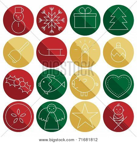 Christmas Line Icons In Circles