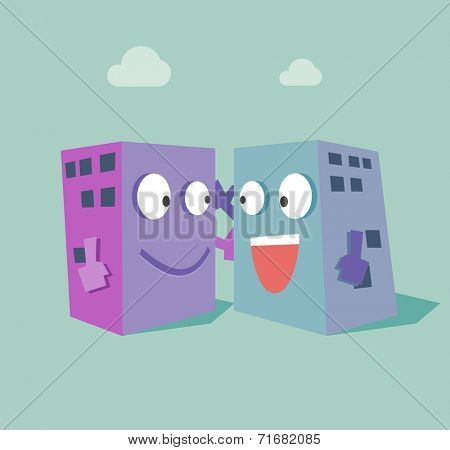 Merger two company. Flat vector illustration