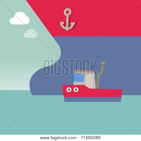 Big and tiny ship competing. Flat vector illustration