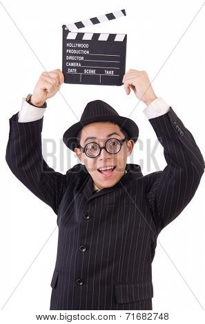 Funny man in elegant suit with movie clapboard isolated on white
