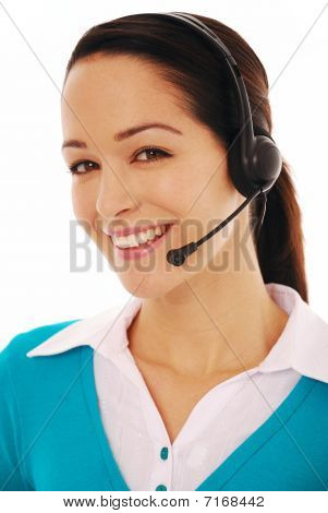 Yong woman with headphones and microphone