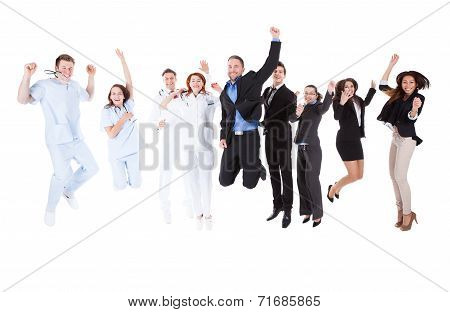 Doctors And Managers Jumping