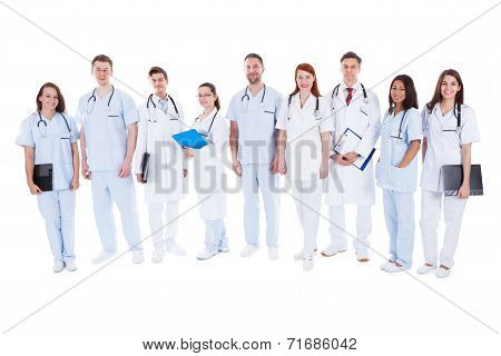 Large Group Of Doctors And Nurses In Uniform