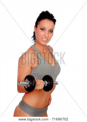 Brunette girl stimulating their fitness with dumbbells isolated on white background