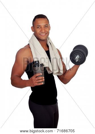 Strong Latin American man with dumbbells drinking protein after training isolated on white