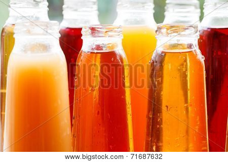 different bottles of juice