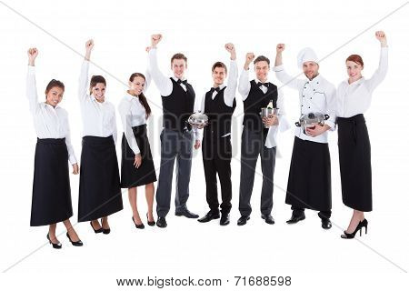 Large Group Of Waiters And Waitresses Cheering
