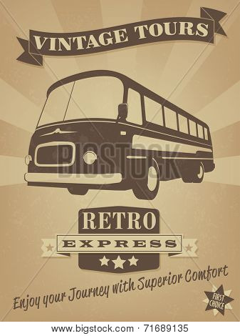 Vintage Bus Retro Advertising Poster. Vector Illustration of vintage bus with banner, badge and grunge texture