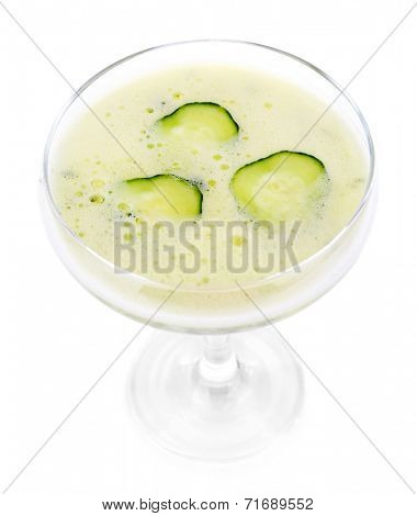 Cucumber cocktail isolated on white