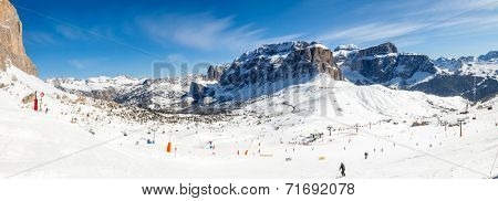 Panoramic view of the Val Di Fassa ski resort in Italy