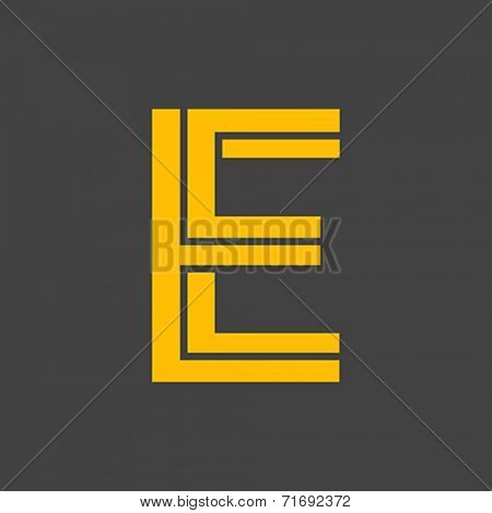 Letter E vector alphabet impossible shape.  ABC concept type as logo. Typography design