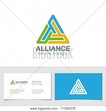 Logo Triangle business technology abstract vector design template. Hi tech looped infinity logotype. Infinite loop icon triple concept.