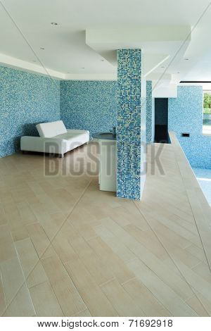 House, indoor pool, white divan