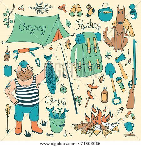Fishing, hunting, camping set