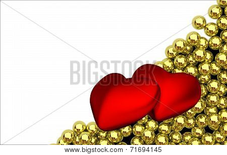 two red hearts and glossy golden speres on background