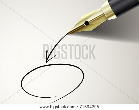 Fountain Pen Drawing Circle And Arrow On Document