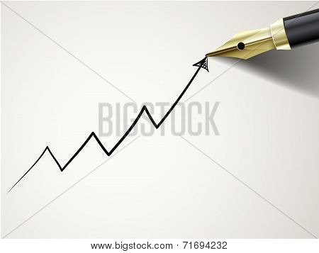 Fountain Pen Drawing Growing Arrow Over Document