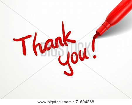 Red Pen Writing Thank You Over Document