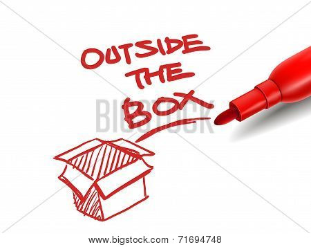 The Words Outside The Box With A Red Marker