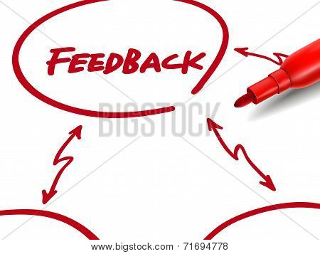 The Word Feedback With A Red Marker