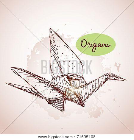 Origami paper cranes sketch. line on beige background.Grunge tex