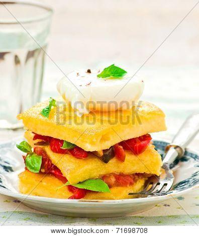 Polenta With Vegetables And Poshed Egg