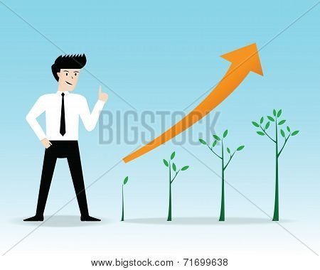 Businessman present growing trees business. vector illustration