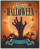 pic of happy halloween  - Halloween Zombie Party Poster - JPG