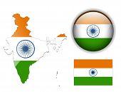 Постер, плакат: Индия флаг карта и глянцевый кнопку