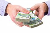 image of zloty  - Loan in polish zloty over white background - JPG