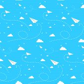 foto of backround  - Seamless vector backround with clouds paper planes and math signs on blue sky - JPG