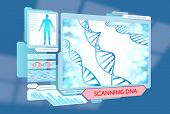 stock photo of biotech  - A program scanning the DNA of a human patient for medical analysis - JPG