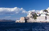 image of hydra  - Old fortifications in Hydra port, Hydra Island, Greece