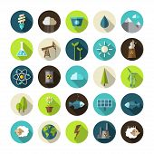 foto of solar battery  - Modern vector flat design conceptual ecological icons - JPG