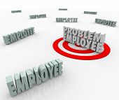 image of employee  - Problem Employee targeted in a workforce of employees - JPG
