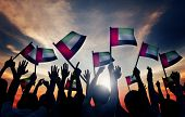 foto of waving  - Group of People Waving Flag of UAE in Back Lit - JPG