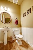 picture of toilet  - Small bathroom with white washbasin stand and toilet - JPG