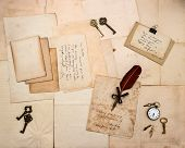 foto of nostalgic  - vintage letters and handwritten postcards with sample english text - JPG