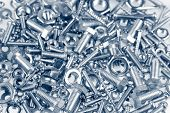 image of bolt  - Assorted nuts and bolts closeup - JPG