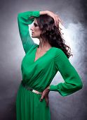 stock photo of fumes  - Studio portrait of young beautiful brunette woman with brown curly long hair in green dress on fume background - JPG